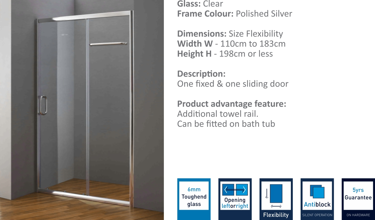 JP2218 - Sliding Door Shower Partition