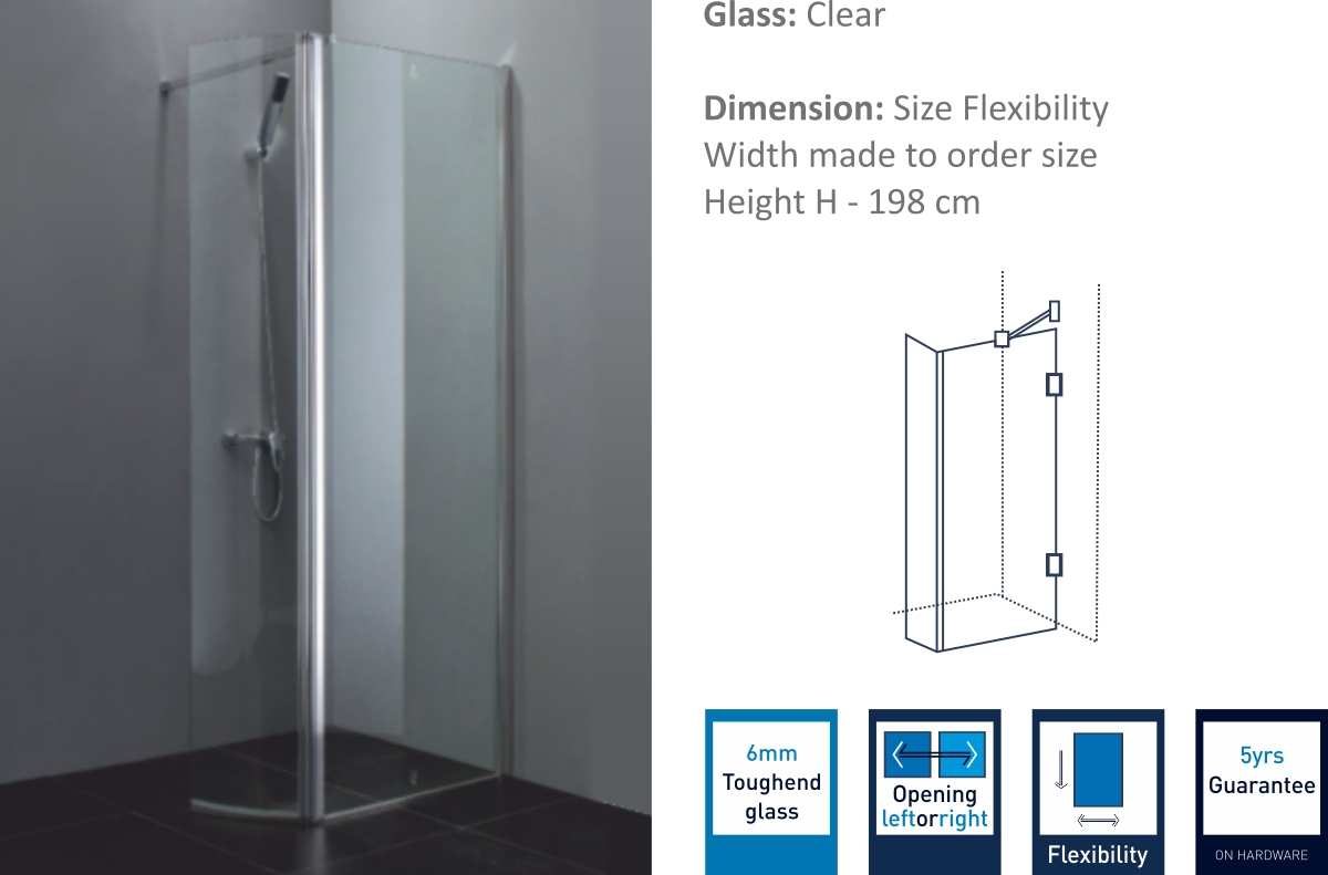 FGP - SD - Fixed Glass  Partition With Swing Door