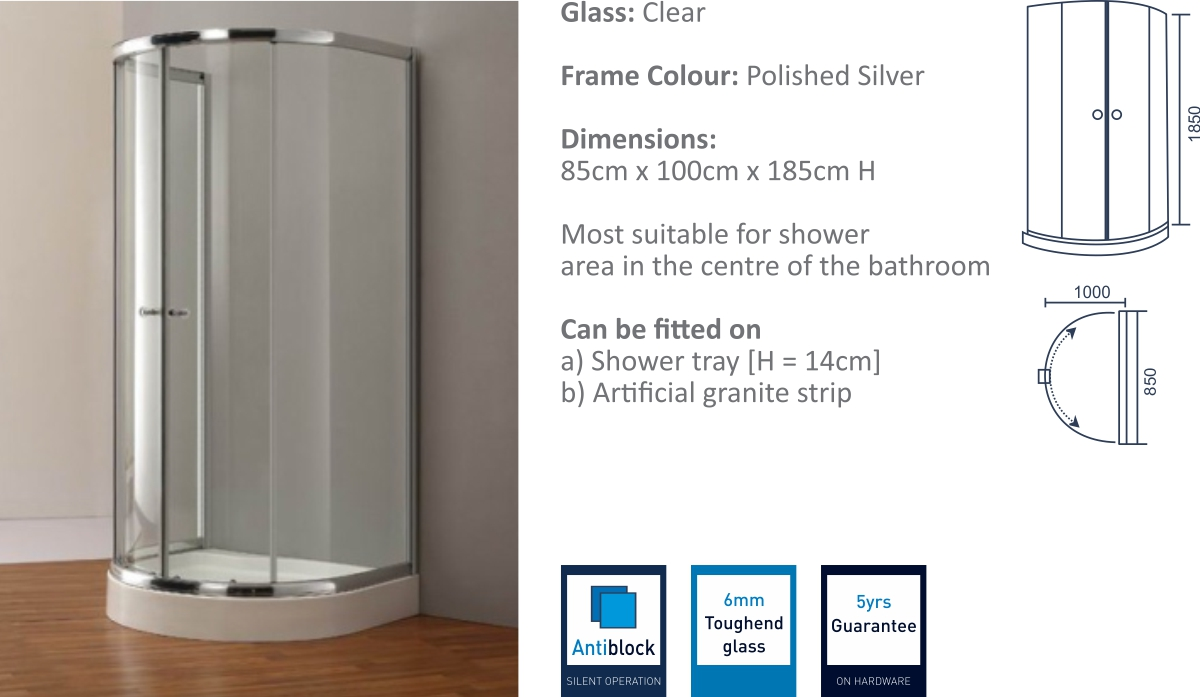 AS1D - Single Wall Support Shower Enclosure