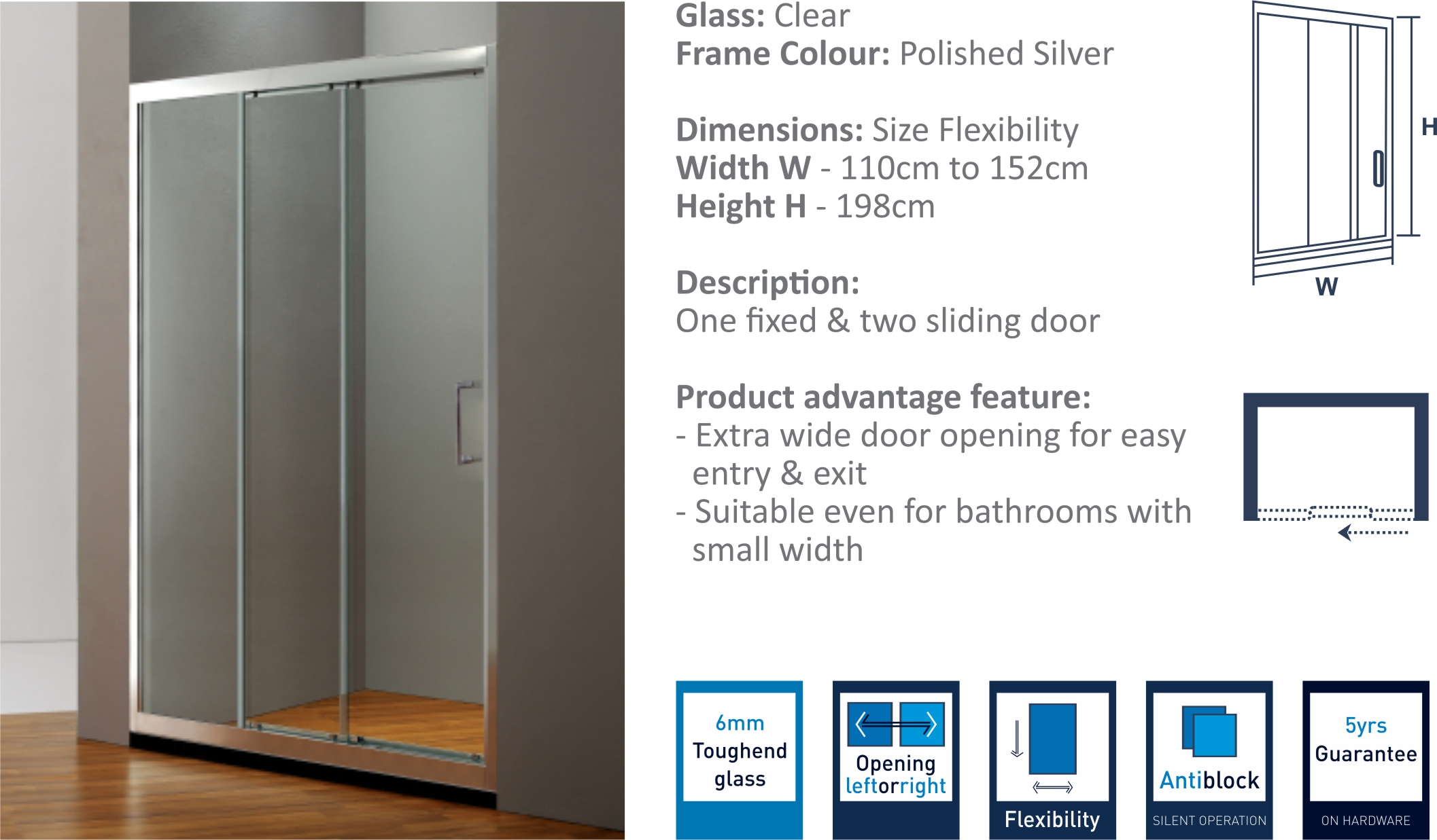 IP4C - Two Sliding Doors Shower Partition