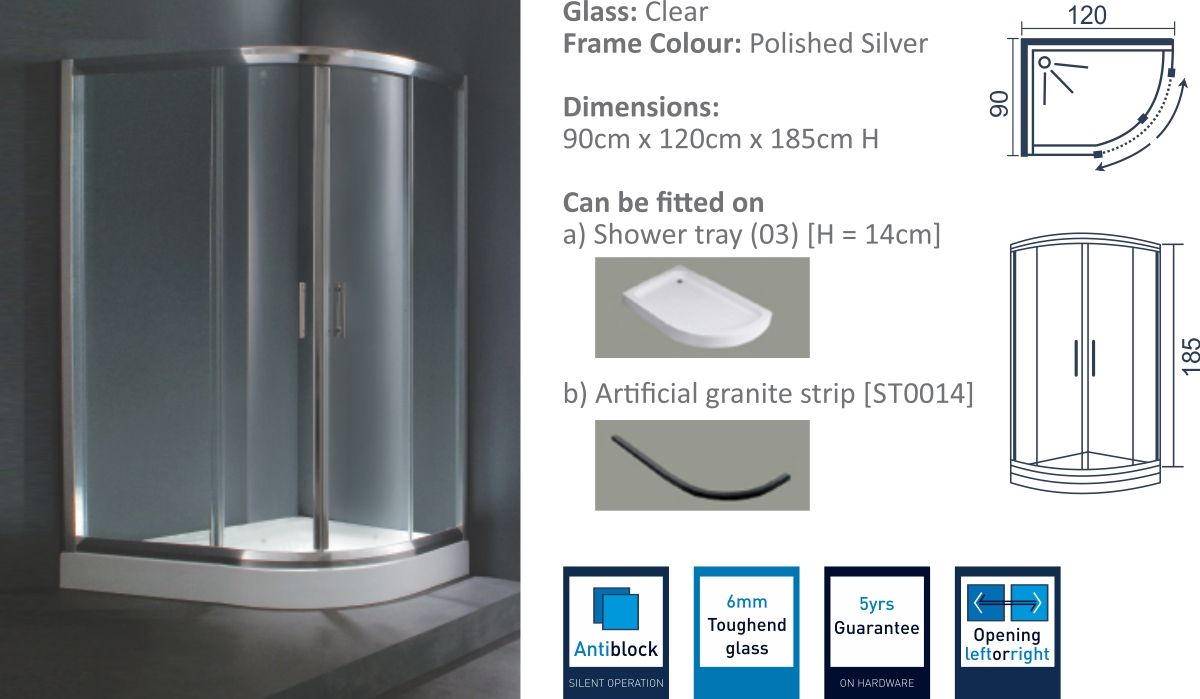 JK2809 - Sliding Shower Door Enclosure
